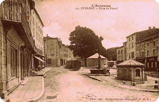 CPA fête foraine à Cunlhat, Auvergne.