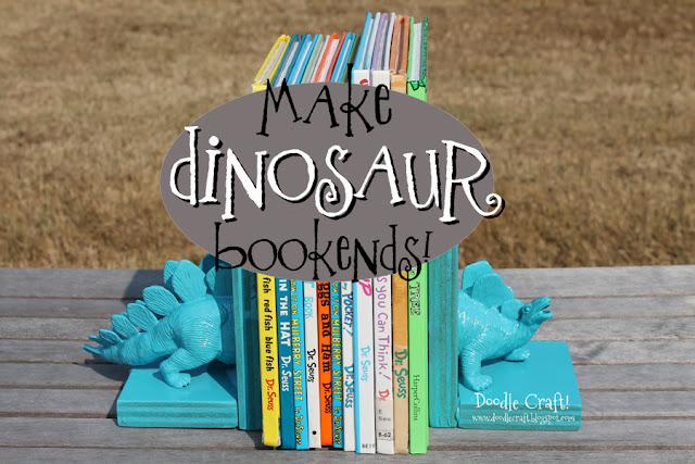 Dinosaur Bookends With Hot Glue