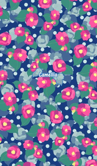 Pink camellia -Retro polka dots-