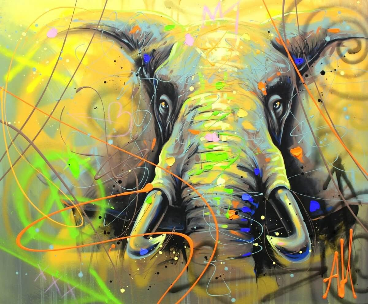 09-Elephant-Andrea-Marqui-Bright-Paintings-of-Animal-Portraits-www-designstack-co