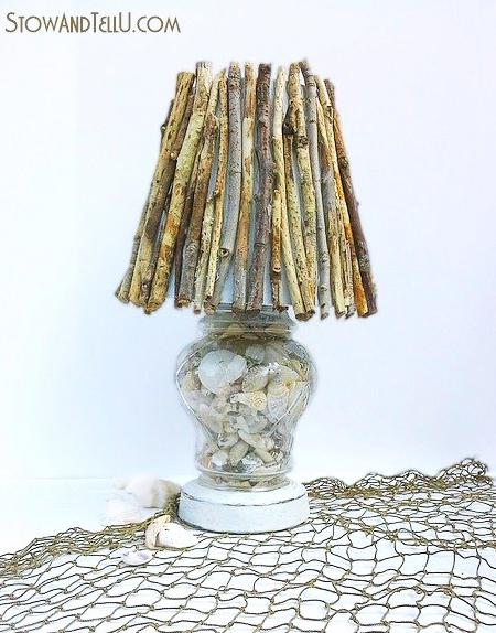 Twig Seashell Lamp Idea