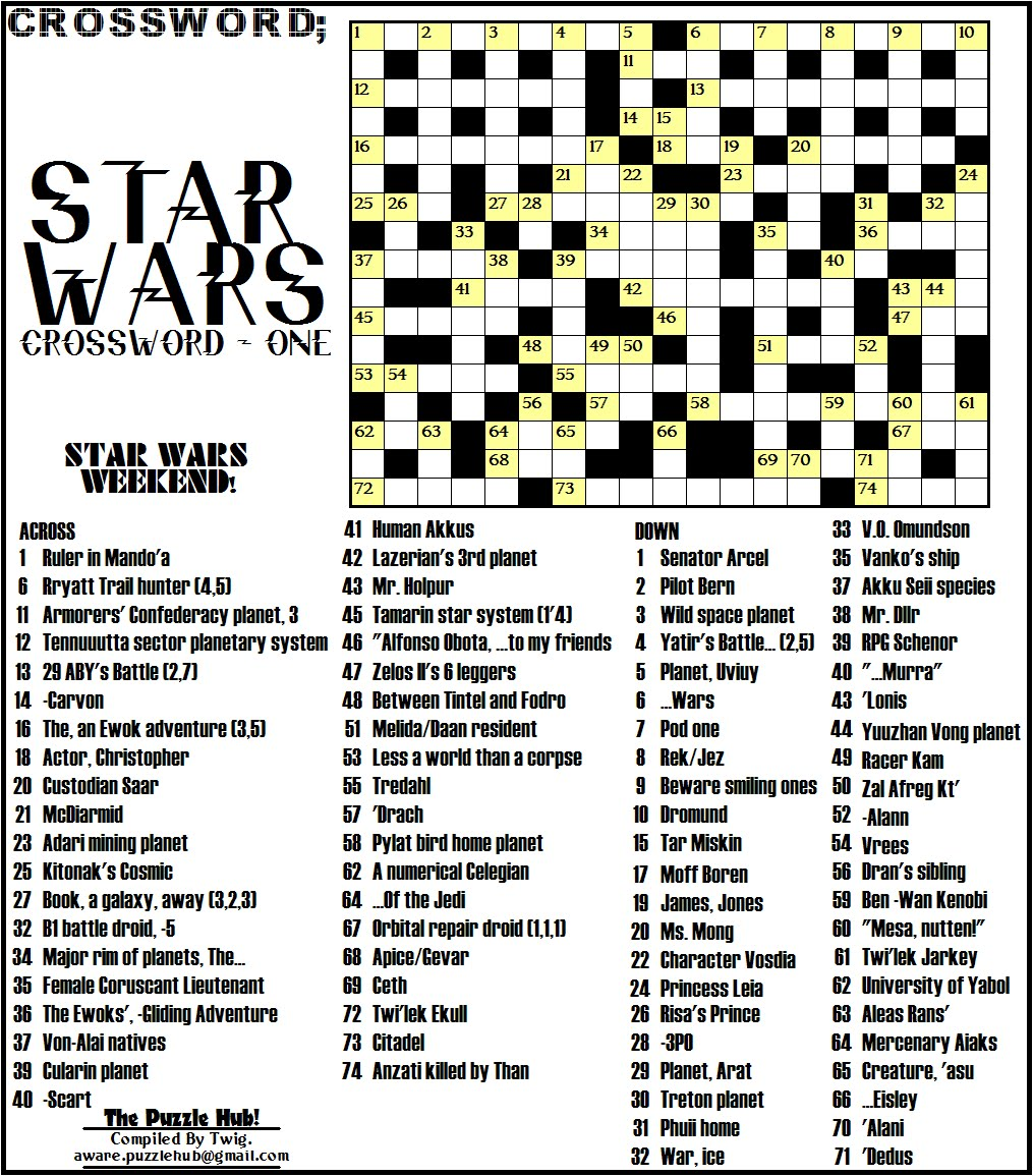graphic relating to Star Wars Crossword Puzzles Printable titled The Puzzle Hub: Star Wars Crossword; Star Wars Collection #1!