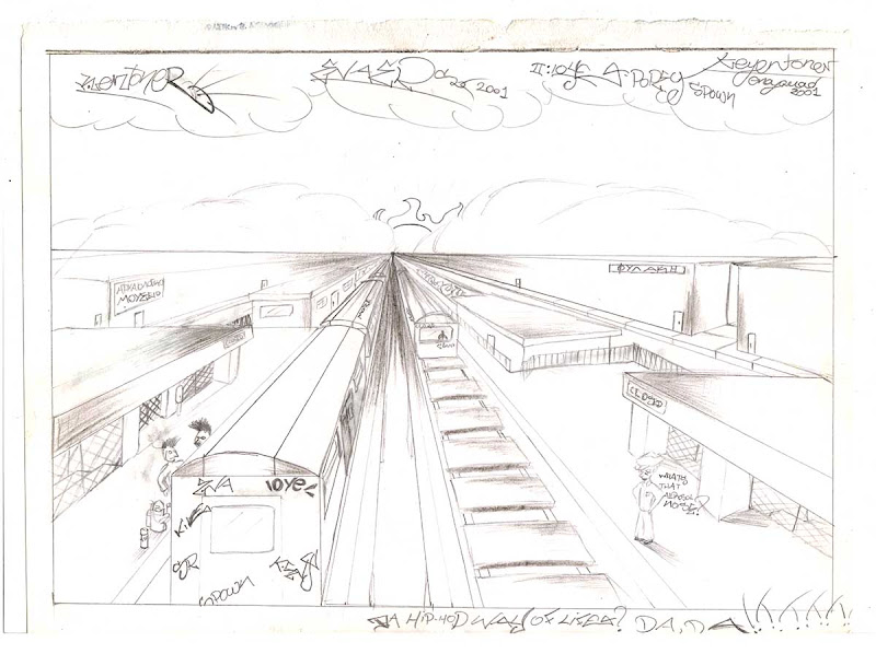 Pencil Drawing of a Train Station. Original naive, vintage graffiti sketch on copy paper by Kostas Gogas (akney), signed as Kent from his first Folder, 2001. ENA graffiti crew.
