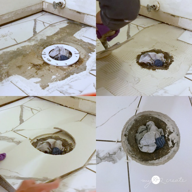 adding tile around the toilet drain