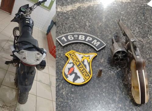 Polícia Militar apreende arma de fogo e moto roubada em Chapadinha.