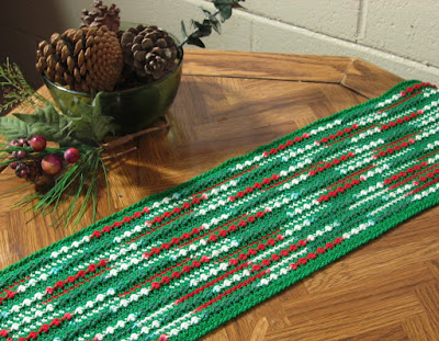 Red and Green Modern Abstract Table Runner - Hand-Crocheted by RSS Designs In Fiber