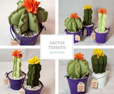 cactus tessuto secchiello latta viola bianco