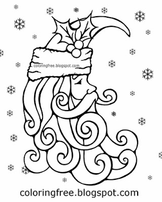 Christmas drawings hippy artwork space moon face of Santa Claus printable for older kids to color in