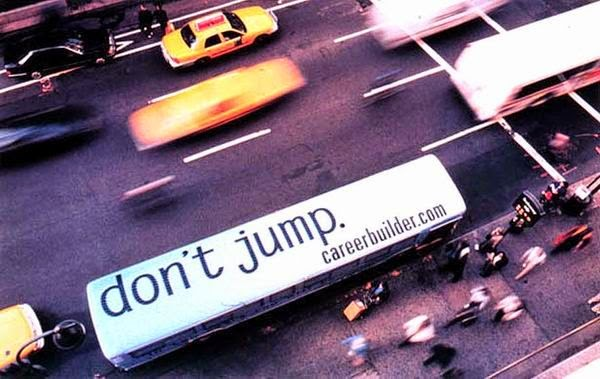 Birds eye view of bus stating don't jump