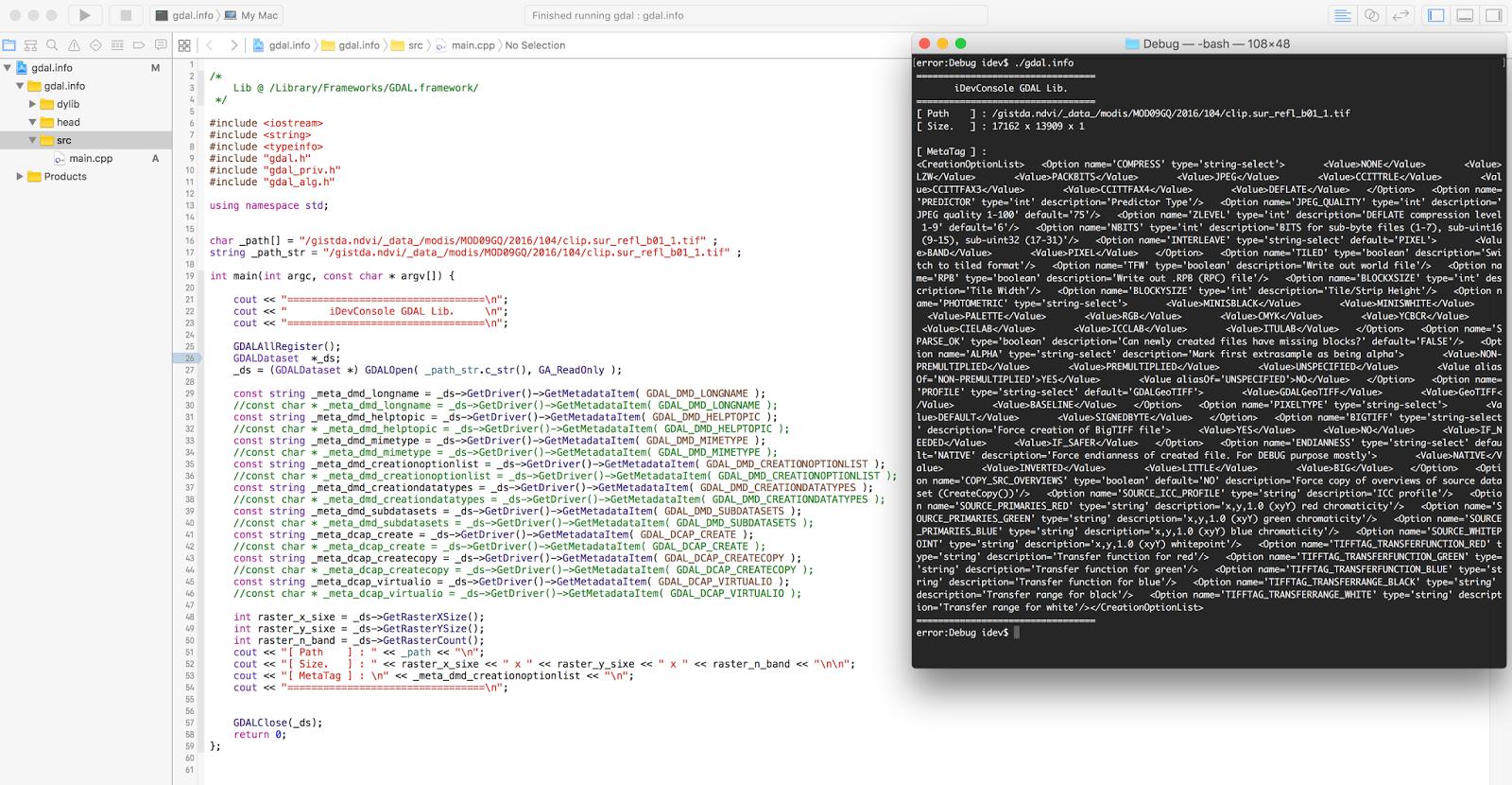get raster metadata with C++ Xcode (GDAL) | gis developer