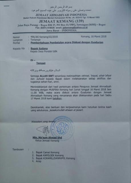 Pertemuan Jemaat Ahmadiyah dengan Gusdurian Dibatalkan