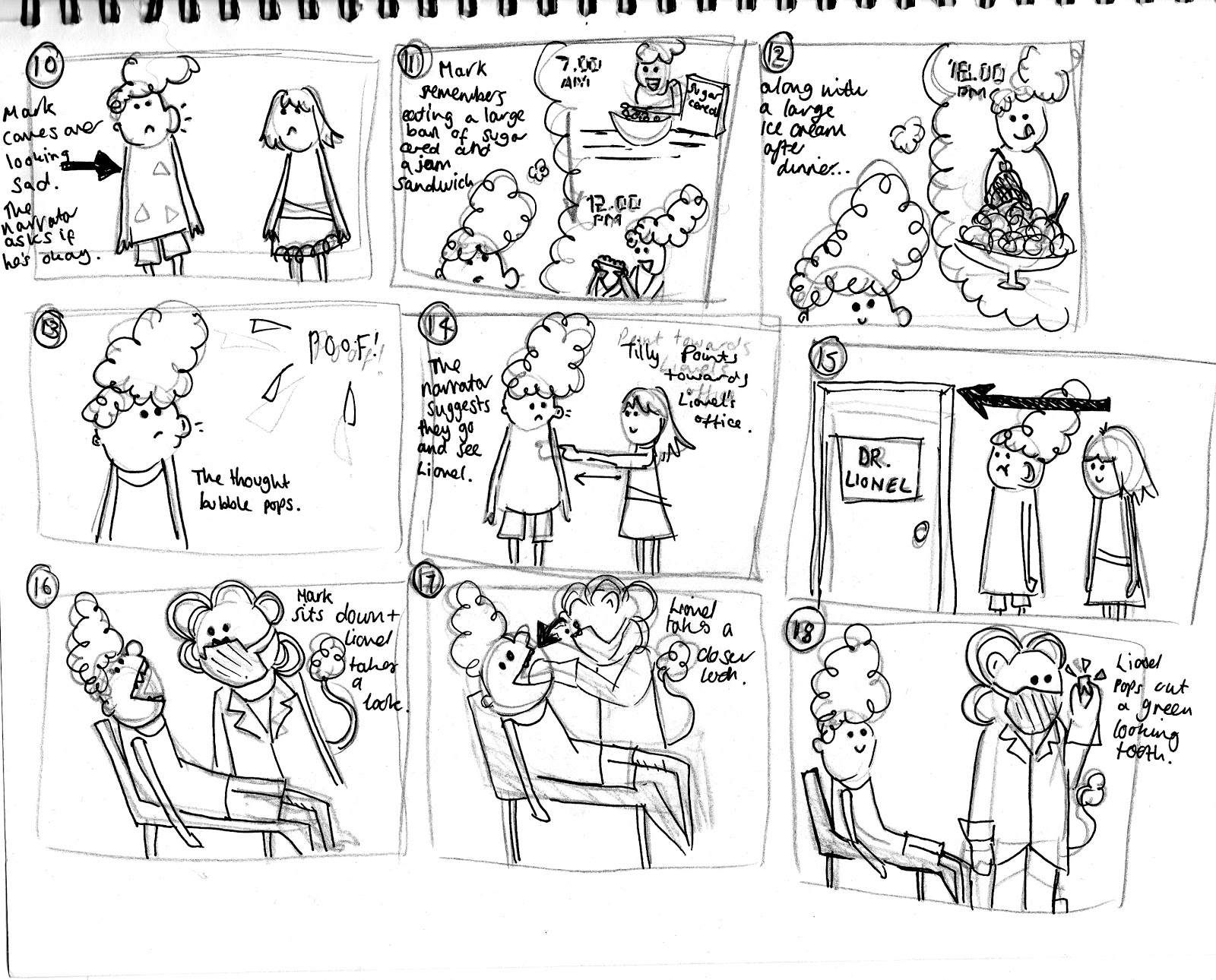 Laura's Animations: Draft Storyboard Sequence and story.