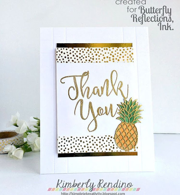 Sunny Studio Stamps: Tropical Paradise Pineapple Card by Kimberly Rendino