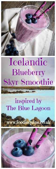 www.foodiequine.co.uk Blueberry, Mango, Banana and Sykr Smoothie inspired by a visit to Iceland's Blue Lagoon Geothermal Spa