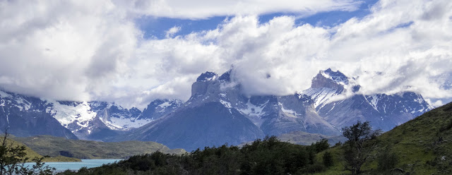 Cloud-covered mountains in Torres del Paine National Park in Chile