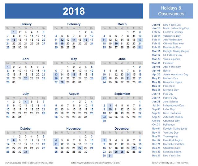 2018 Calendar Printable, 2018 Calendar Template, Calendar 2018, 2018 Holiday Calendar