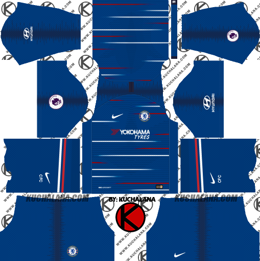 buy online 2a767 0d24e Chelsea FC 2018/19 Kit - Dream League Soccer Kits - Kuchalana