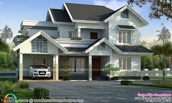2780 sq-ft sober colored sloping roof home