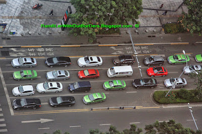 Traffic, Aerial panorama, Chengdu, Sichuan, China