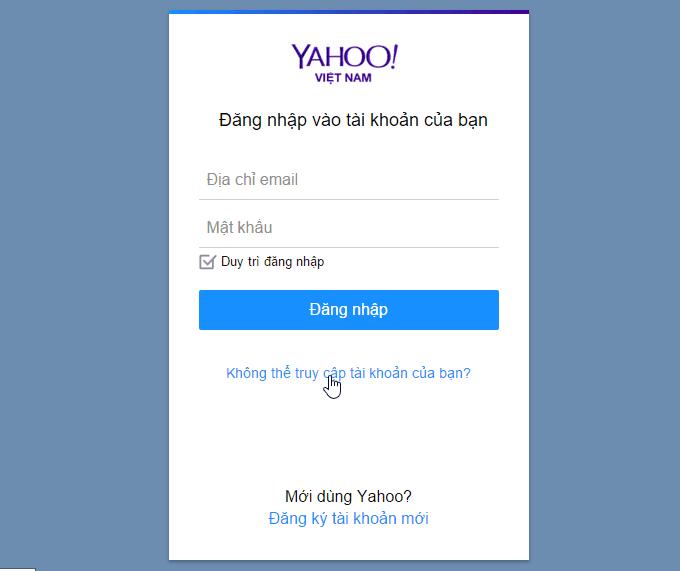 lấy lại mật khẩu mail Yahoo