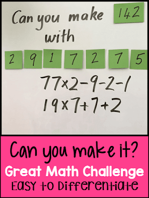 Photo of the Can You Make It? Math Game from the Games 4 Learning blog