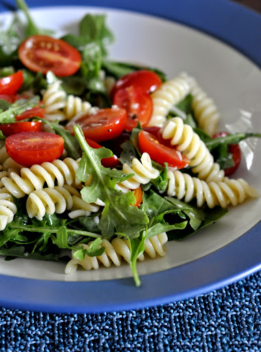 Pasta Salad with Baby Arugula and Grape Tomatoes | Taste As You Go