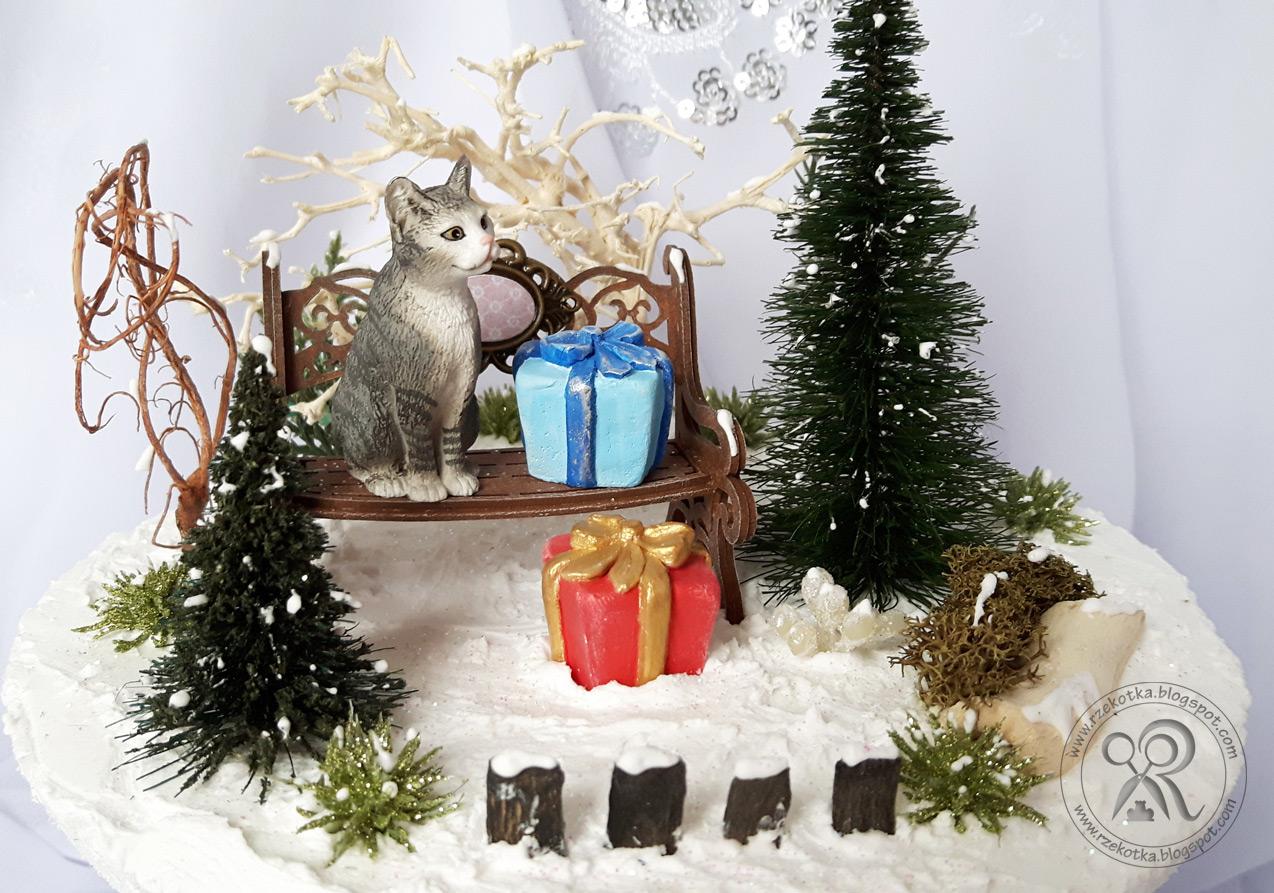 Bombka krajobrazowa miniatura z kotem