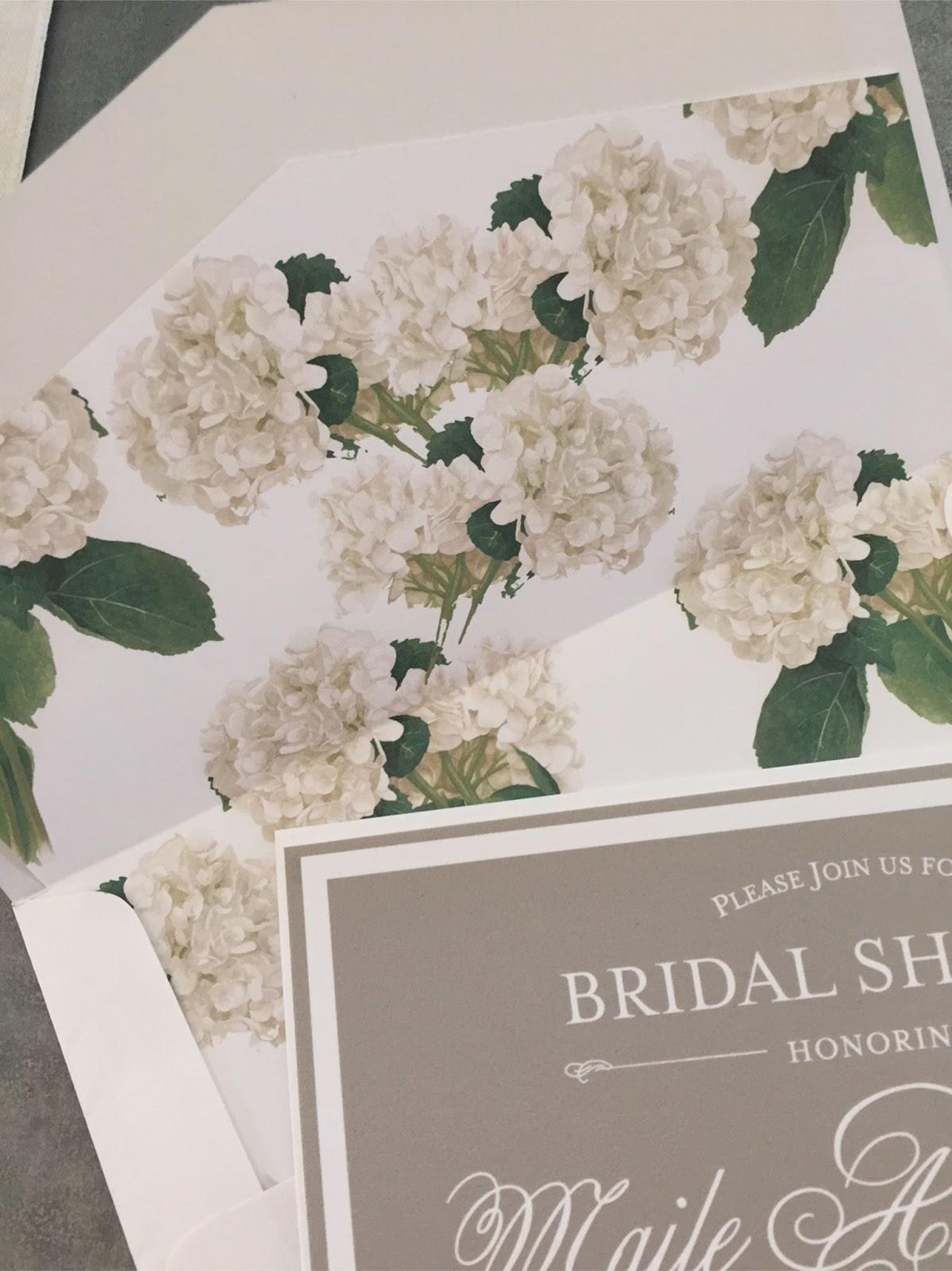 soft grey hydrangea bridal shower invite