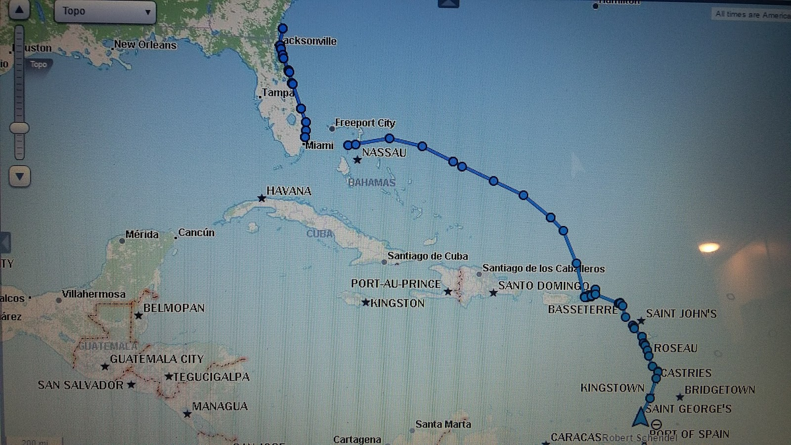 our trip jan 5 to april 9 2017 over 2100 nautical miles