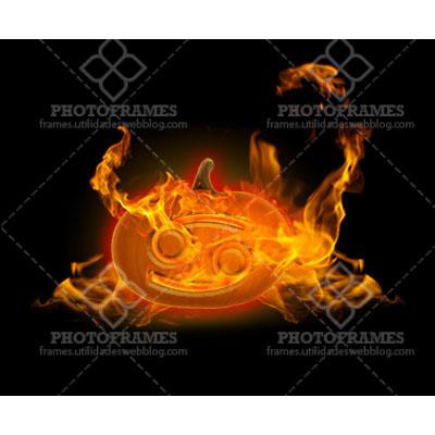 Calabaza con el símbolo zodiacal Cancer en llamas y fondo transparente