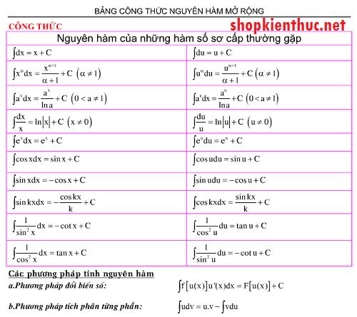 Bảng công thức nguyên hàm thường dùng đầy đủ nhất