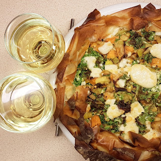 Sweet potato and leek pie with goats cheese