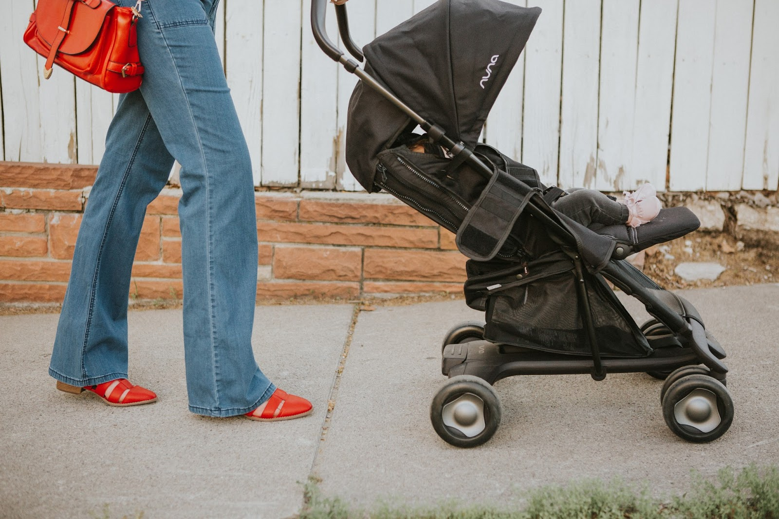 Nuna Stroller, Red Shoes, 70's style Jeans