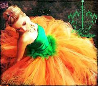 designer long orange tutu