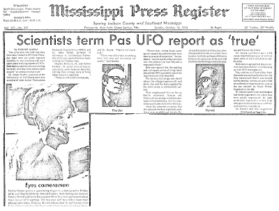 Scientist Term Pas UFO Report As True - Mississippi Press Register 10-14-1973