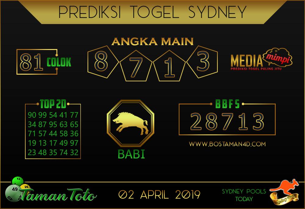 Prediksi Togel SYDNEY TAMAN TOTO 02 APRIL 2019