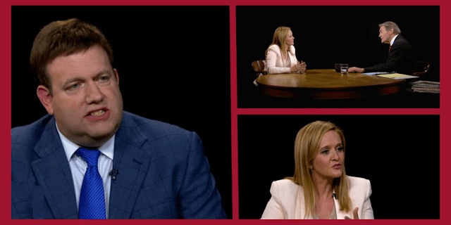 Republican Pollster Frank Luntz and his wig, Samantha Bee and Charlie Rose
