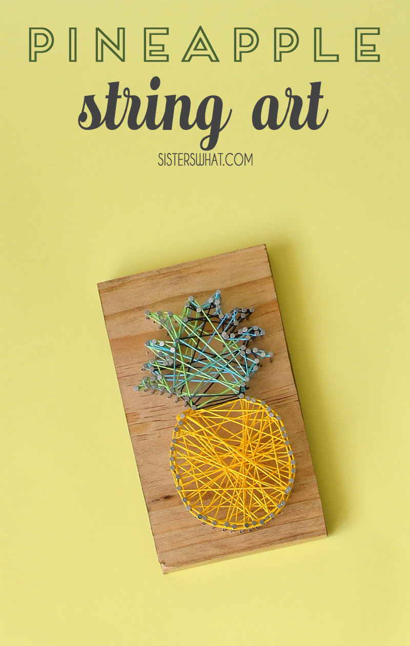 DIY pineapple string art craft tutorial