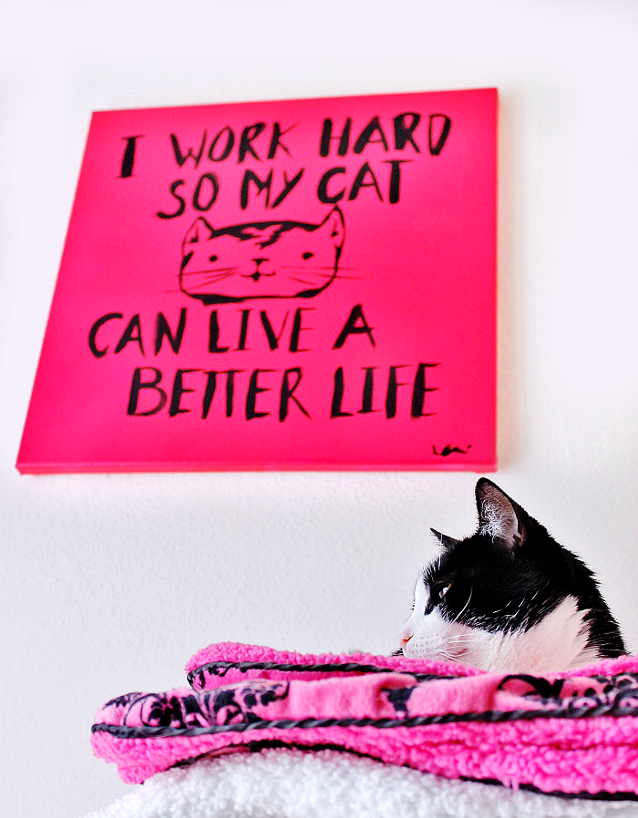 I Work Hard So My Cat Can Live A Better Life- Grab the wall art template and check out our Top 10 Catisms! #YouGottabeKittenMe (AD)