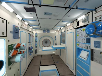 computer generated view of the inside of the Commercial Space Station