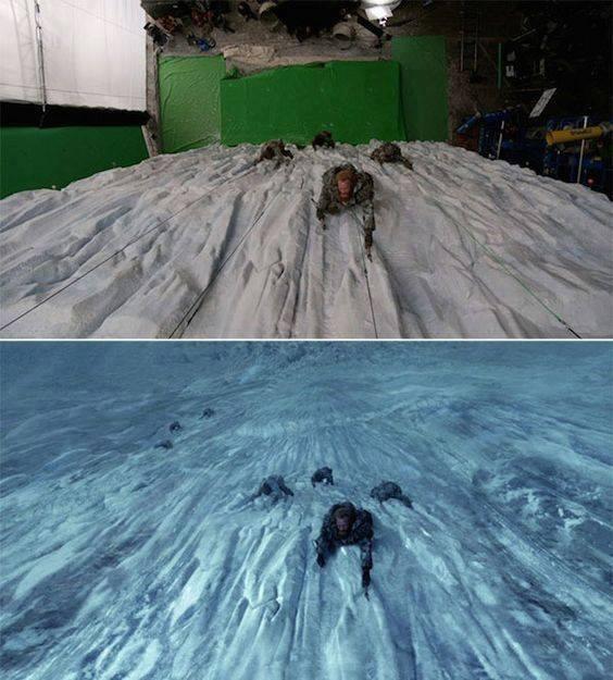 burra duke u ngjitur në malin e akullt