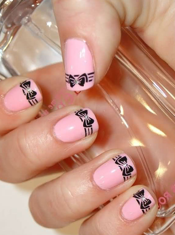 Pink Nails Black Bow Nail Designs No 42 - Designs Art Nail Polish: Pink Nails Black Bow Nail Designs No 42