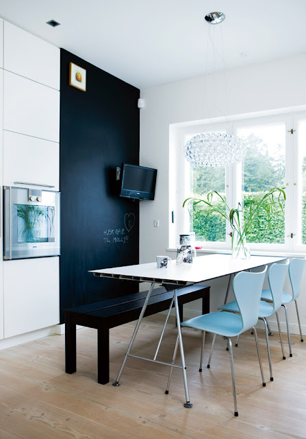 bo bedre breakfast nook with lught blue series 7 eames chairs and a chalkboard wall