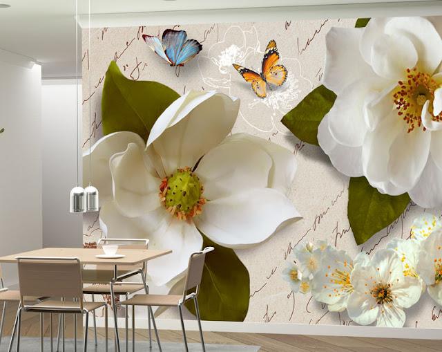 Фотоошпалери Білі квіти в интер'єрі кухні