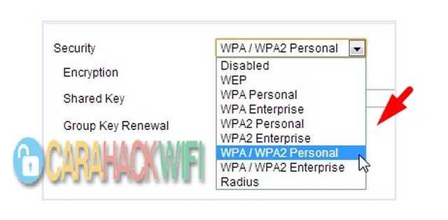Pilih Security Encryption WIFI WPA / WPA2 Personal