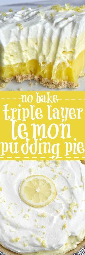 {no bake} Triple Layer Lemon Pudding Pie
