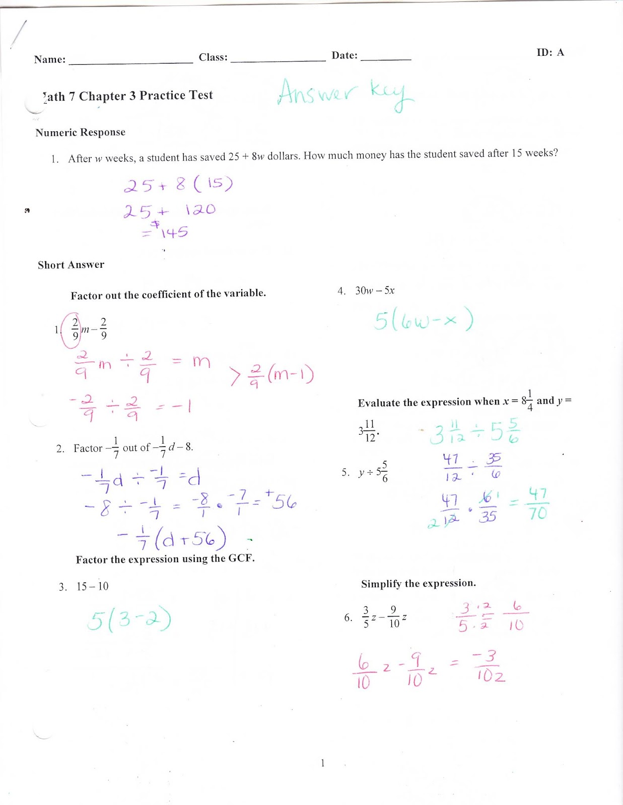 Ms. Jean's Classroom Blog: Chapter 3 Practice Test Answers