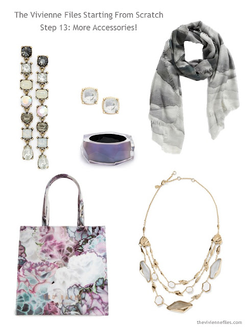 jewelry, a scarf, and a bag to add to a grey-based capsule wardrobe