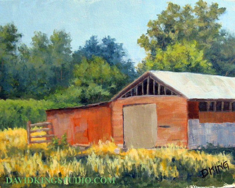 art painting plein air barn rural acrylic