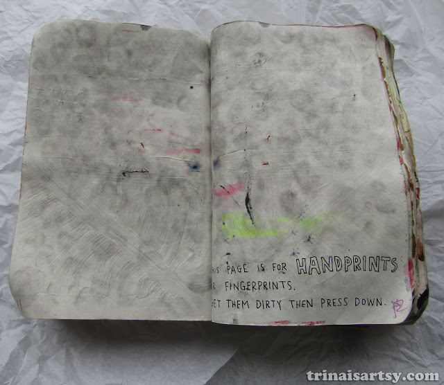 Wreck this Journal - A page for dirty hand prints so gross